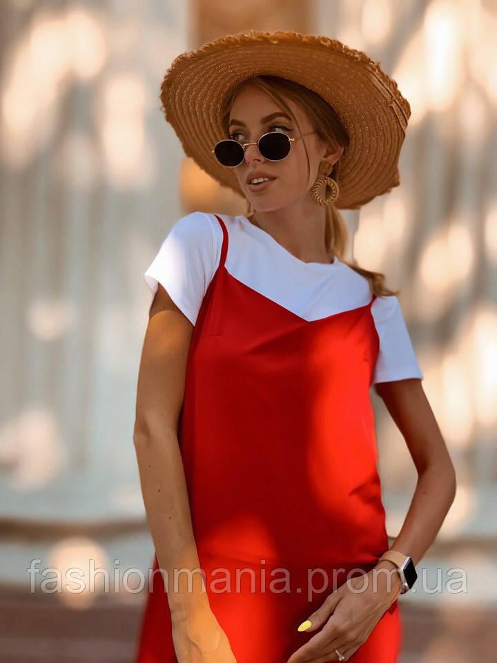 Костюм двойка (футболка +платье с разрезом) чёрный, красный, хаки