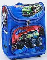 """Детский школьный рюкзак ортопедический 37х29х20см """"ДЖИП"""". Каркасный портфель, ранец для мальчика МАШИНА"""