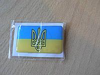 Наклейка s силиконовая флаг 50х30х0,8мм Украина синяя желтая полосы с гербом в на авто