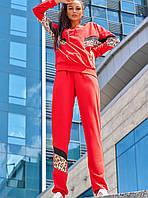 Женский трикотажный костюм с леопардовыми вставками (Тейло jd )