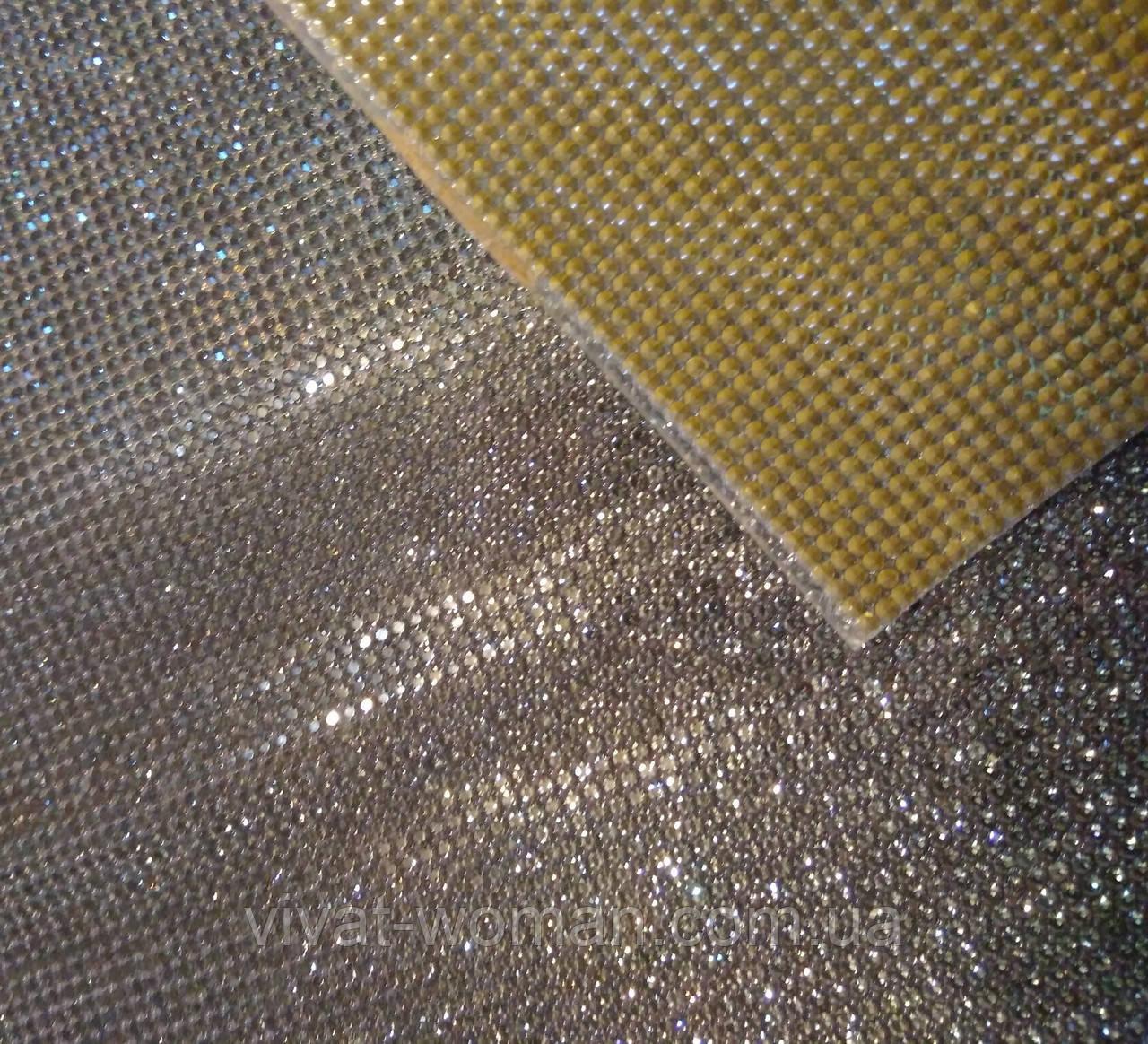 Стразовое полотно гарячої фіксації, колір Black Diamond. Розмір страз SS6 (2.0 мм). Ціна за відріз 1х24 см