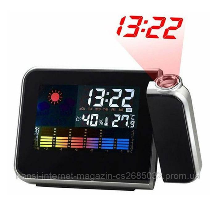 Часы с проектором времени 8190, электронные проекционные часы метеостанция