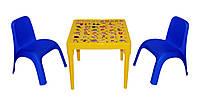 """Комплект стіл """"Абетка англійська"""" жовтий і 2 стільця блакитні, фото 1"""