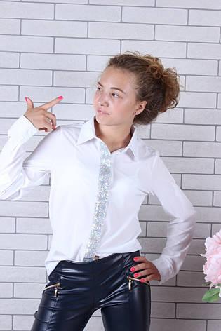 Школьная блузка с длинным рукавом для девочки р.134-164лет опт, фото 2