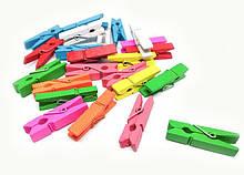 Цветные прищепки для декора из дерева набор 100 шт