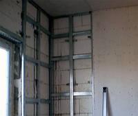 Монтаж гипсокартона в одном уровне, стена