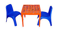 """Комплект стіл """"Абетка українська"""" помаранчевий і 2 стільця сині, фото 1"""