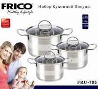Набор кастрюль FRICO FRU-705 (2,1 / 2,9 / 3,9 л.), 6 предметов, доставка из Киева