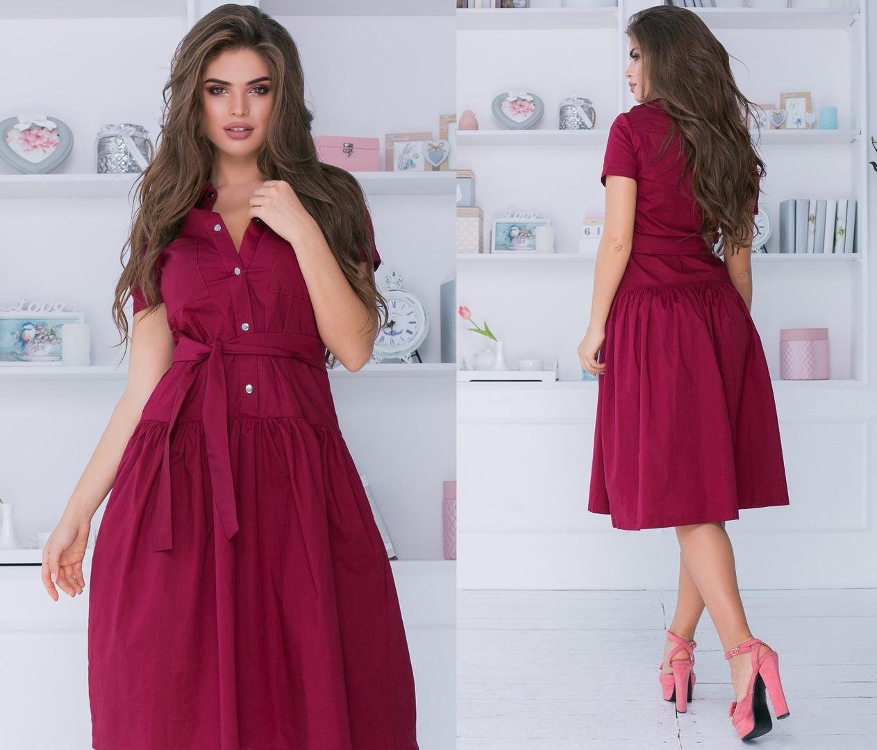 Платье женское длинное из котттона на кнопках под пояс (К28222)