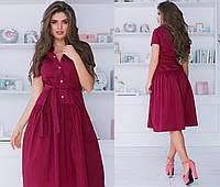 Платье женское длинное из котттона на кнопках под пояс (К28222), фото 1