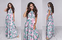 Платье женское длинное с коротким рукавом с цветочным принтом (К28224), фото 1