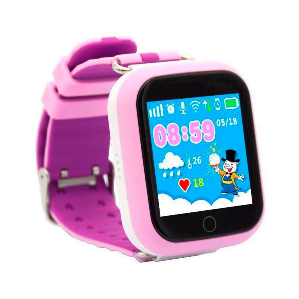 Детские умные смарт часы Smart Baby Watch Q100s с GPS трекером lilac