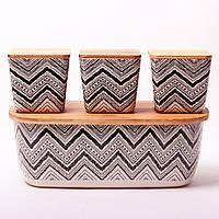 Хлебница Kamille 36*20.2*13.5см из бамбукового волокна с бамбуковой крышкой и с 3 емкостями 11*11*10.6см