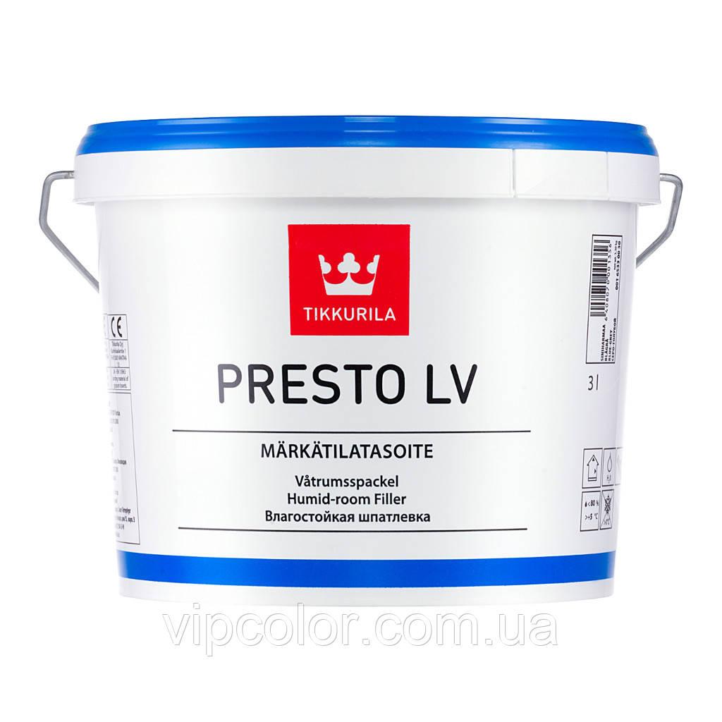 Tikkurila Presto LV Märkätilatasoite влагостойкая шпатлевка 3л