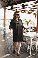 Платье женское короткое черное Большого размера
