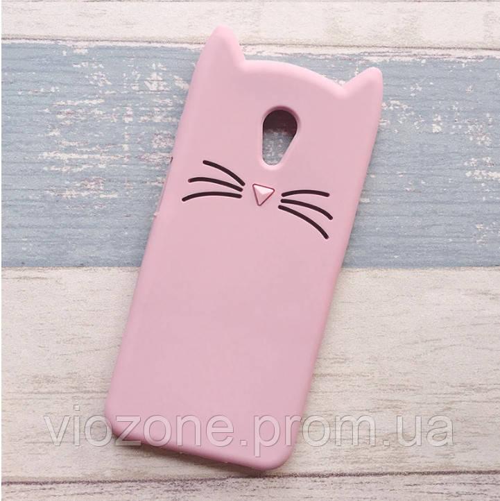 3d Чехол Бампер для Meizu M5 резиновый Розовый Кот