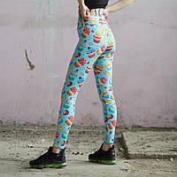 Спортивные леггинсы женские Пушка Огонь Street food, фото 1