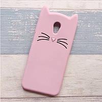 3d Чехол Бампер для Meizu M5s резиновый Розовый Кот