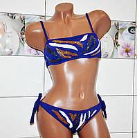 Яркий синий раздельный женский купальник с росшитыми паетками, бикини на завязках, размер 48 (L)