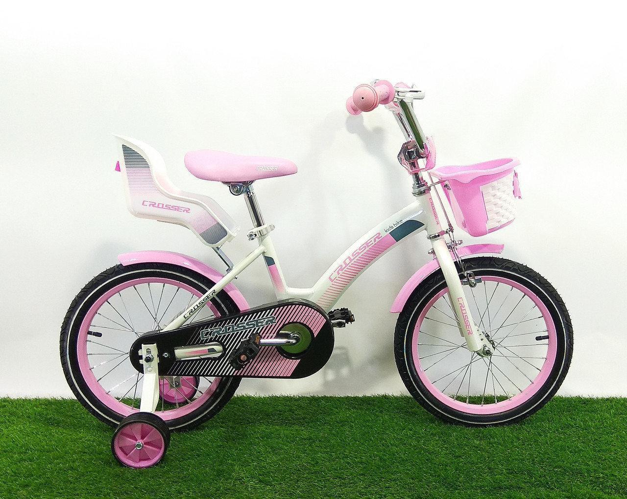 """Детский велосипед для девочки Crosser Kids Bike 18"""" бело-розовый"""