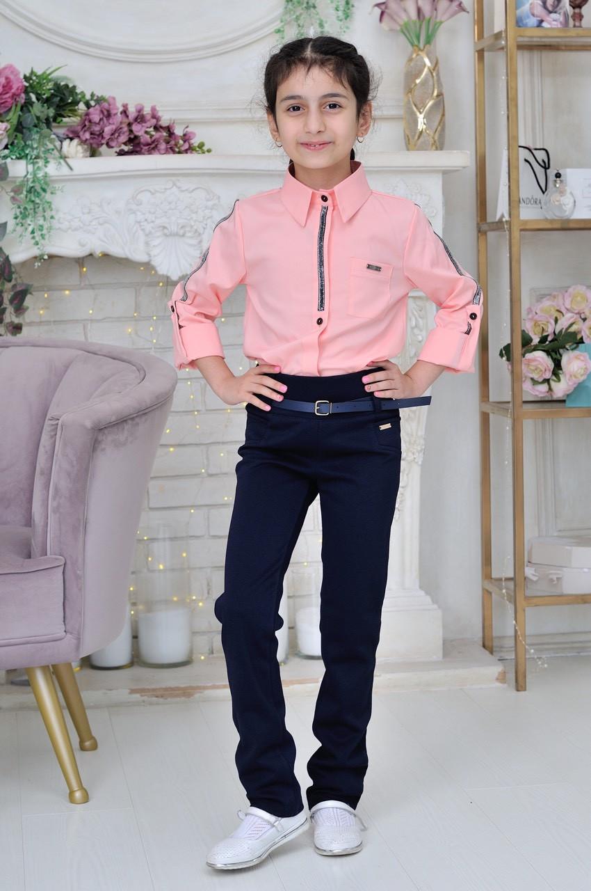 Школьная блузка для девочки р.6-14 лет розовая