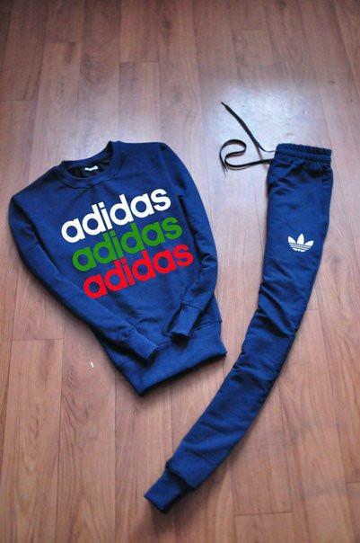Синий мужской летний тренировочный костюм Adidas (Адидас)