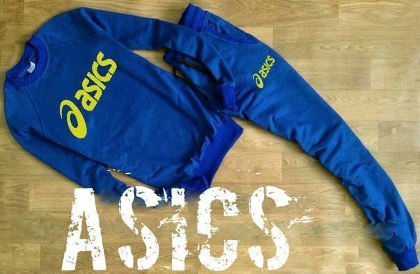 Синий мужской летний тренировочный костюм  Asics (Асикс)