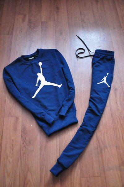 Синий мужской летний тренировочный костюм Jordan (Джордан)
