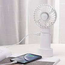 Портативный ручной вентилятор Hoco F11 с функцией павербанка и подставкой, фото 3