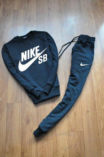 Чорний чоловічий спортивний костюм реглан Nike (Найк)