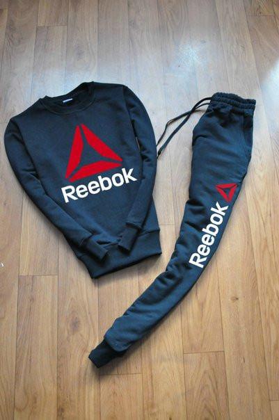 Черный мужской спортивный костюм реглан Reebok(Рибок)