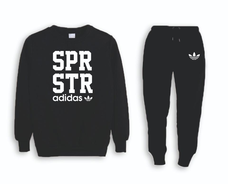 Черный мужской спортивный костюм реглан Adidas (Адидас)
