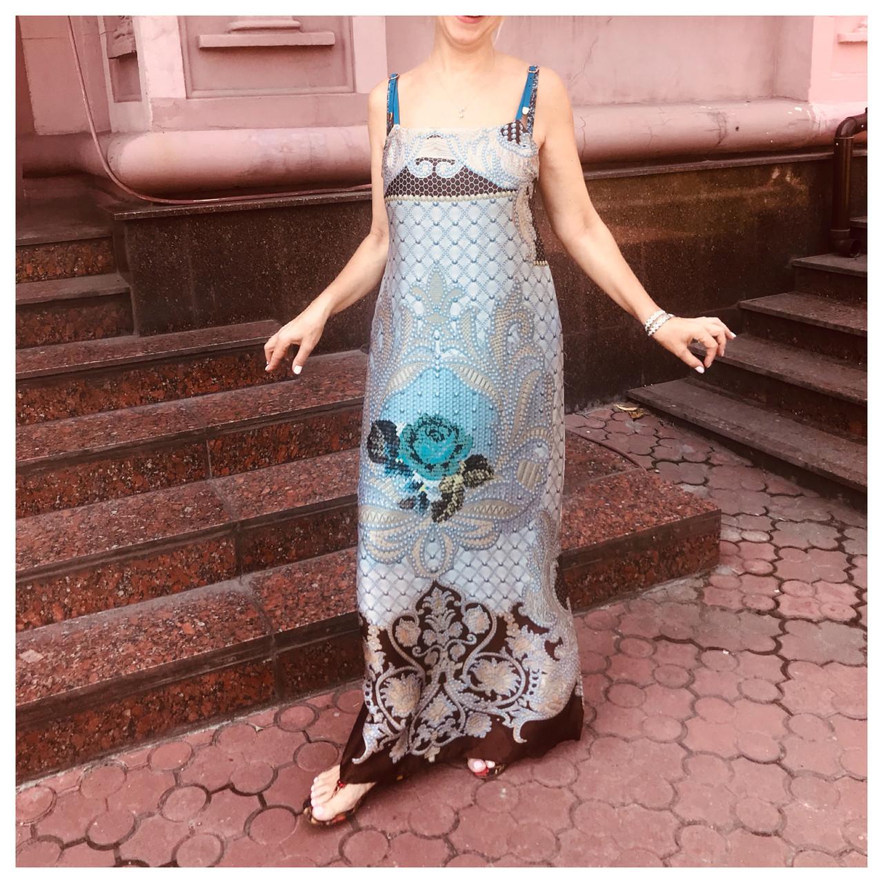 Сарафан женский летний светлый  длинный в пол шелк легкий модный стильный