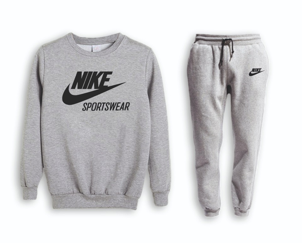 Серый мужской летний тренировочный костюм  Nike (Найк)