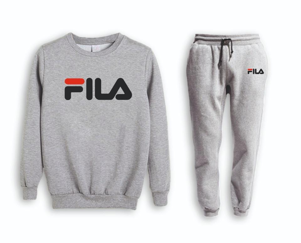 Серый мужской летний тренировочный костюм на манжете Fila (Фила)