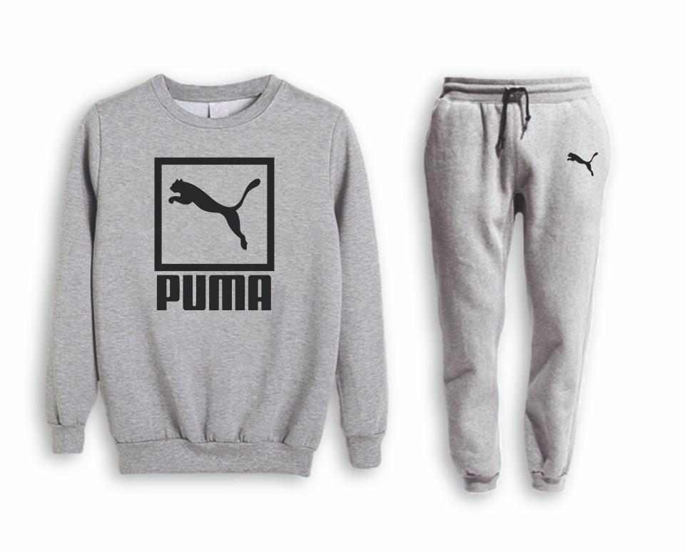 Серый мужской летний тренировочный костюм Puma (Пума)