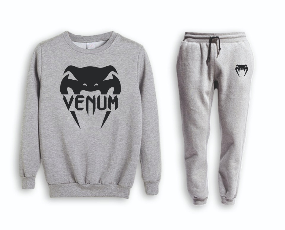 Серый мужской летний тренировочный костюм Venum( Венум)