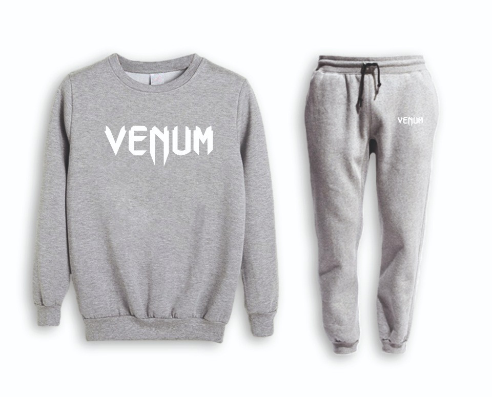 Серый мужской летний тренировочный костюм на манжете Venum( Венум)