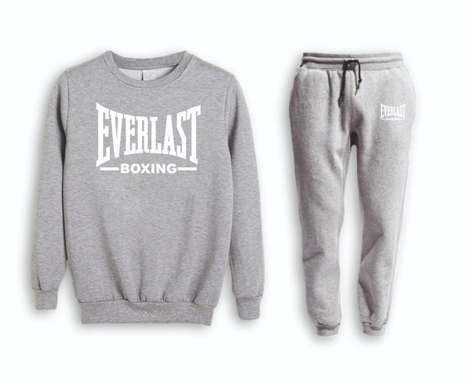 Серый мужской летний тренировочный костюм на манжете Everlast (Эверласт)