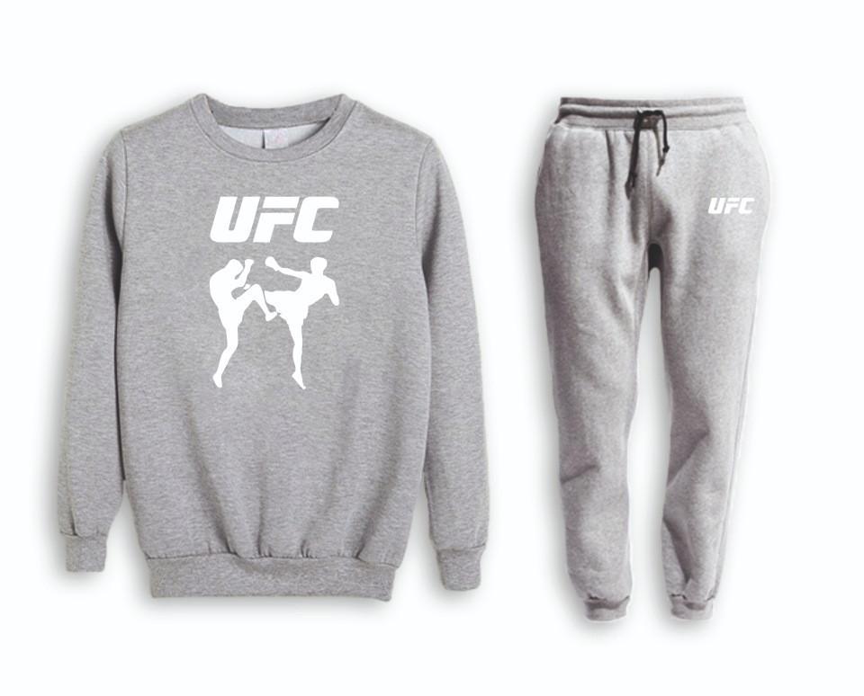 Серый мужской летний тренировочный костюм на манжете UFC (ЮФС)