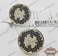 Сережки Шанель срібні великі кола з фіанітами, фото 1