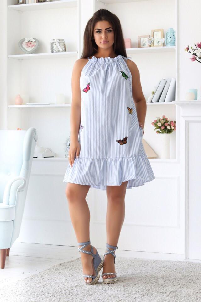 Платье женское короткое из коттона  с оборкой украшеное вышивкой (К28228)