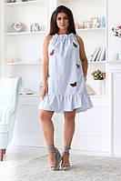 Платье женское короткое из коттона  с оборкой украшеное вышивкой (К28228), фото 1