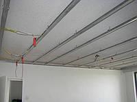 Монтаж гипсокартона в одном уровне, потолок