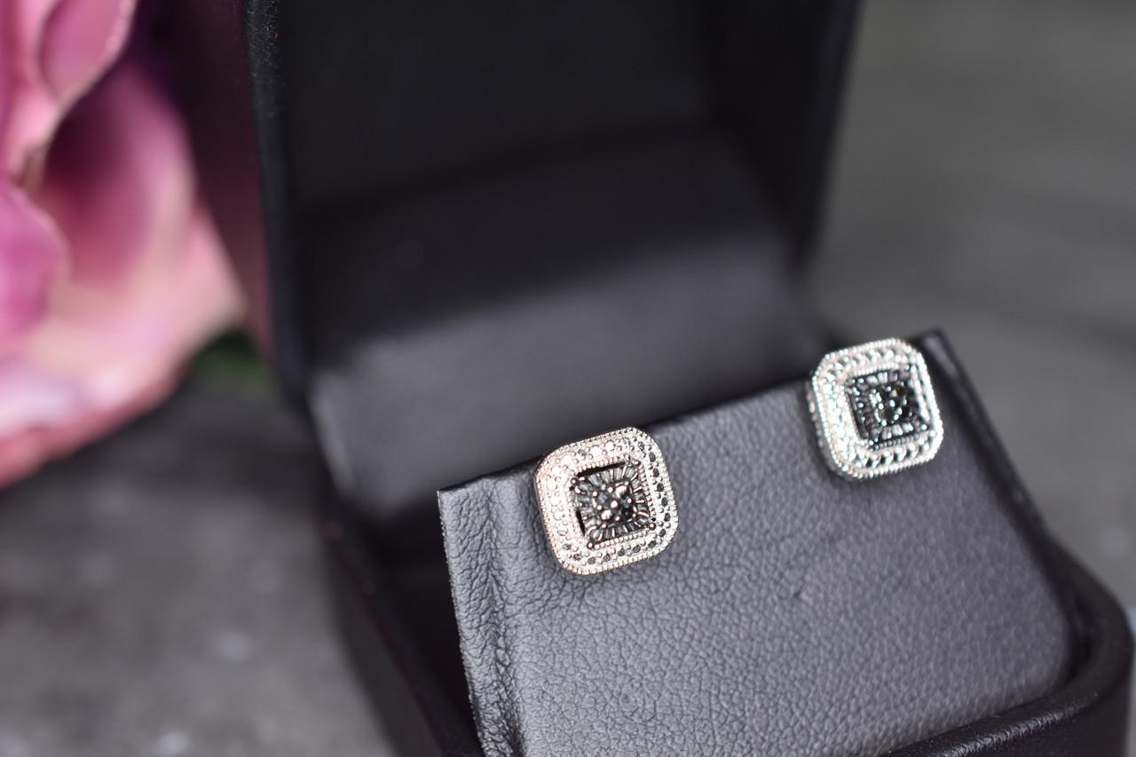 Серебряные серьги-гвоздики с камнями Черная Шпинель