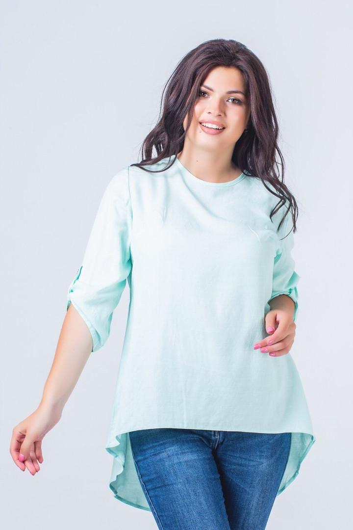 Блуза женская из льна ассиметричная с регулирующимися рукавами (К28230)