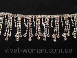 Страхова бахрома з пензликами, метал срібло, колір страз crystal. Ціна за відріз 25 см