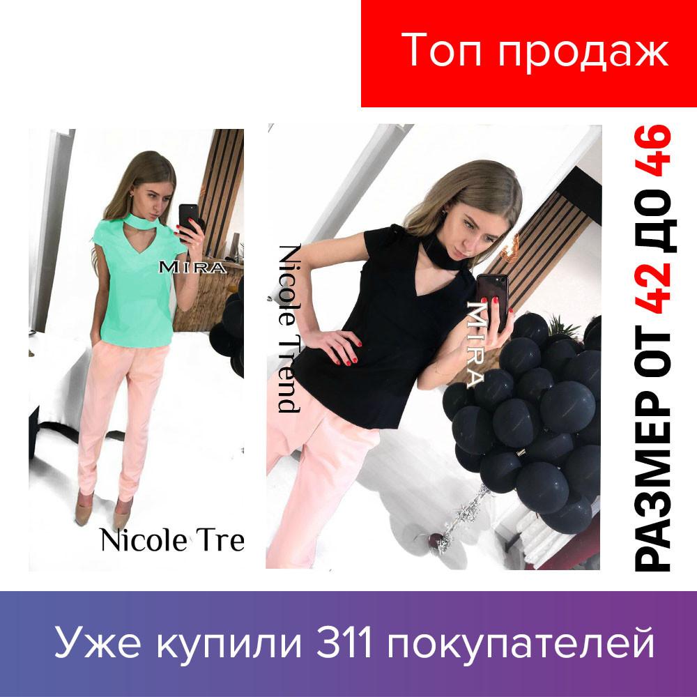 Женская блузка, с чокером, стильна , молодіжна, короткий рукав, пряма,  электро, мята, черная, бордовая 2019