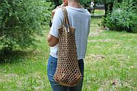 Плетеная женская эко сумка - авоська с джута, ручной работы