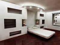 Монтаж сложной конструкции из гипсокартона в нескольких уровнях ,стена
